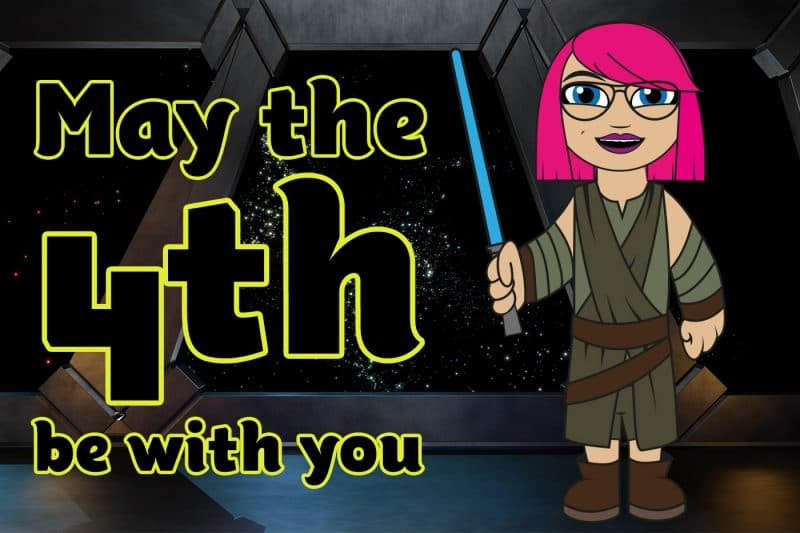 Image from space with a cartooned mini me dressed as Rey and the text May the fourth be with you